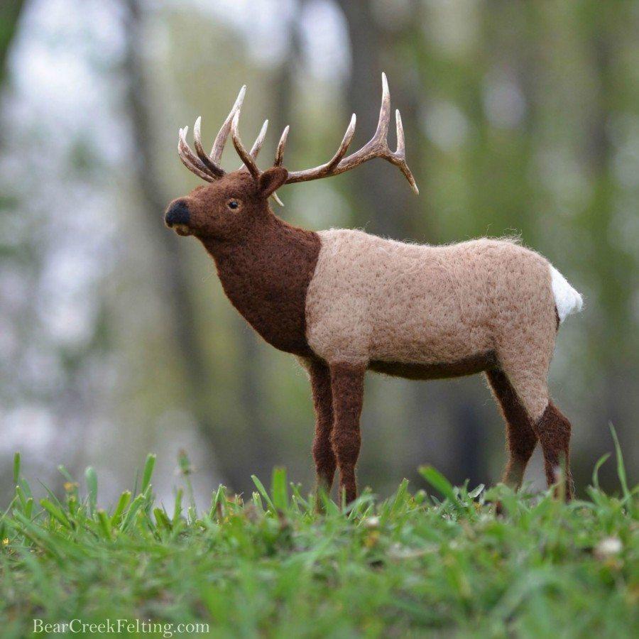 needle felted elk