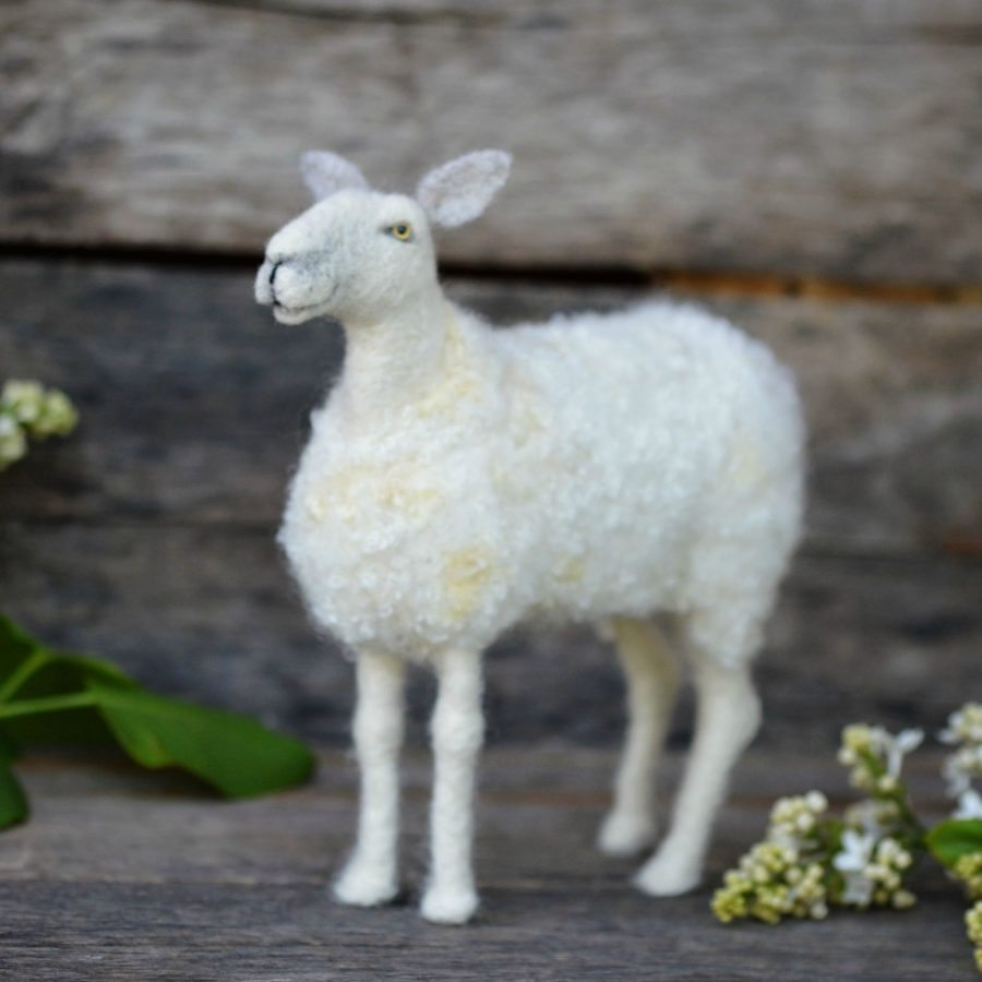 needle felted blue faced leicester sheep